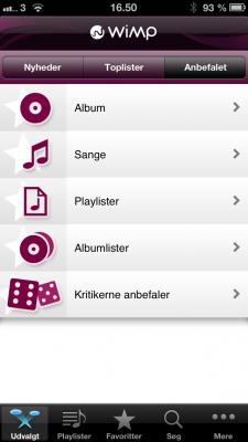 """""""Anbefalet"""" fane på WiMP appen"""