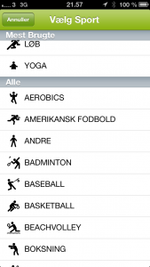 Mulige sportsgrene